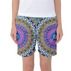 Colorful Purple Green Mandala Pattern Women s Basketball Shorts