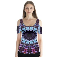 Kaleidoscope Mandala Purple Pattern Art Butterfly Sleeve Cutout Tee