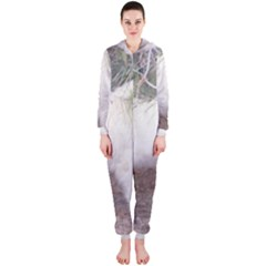 Great Pyrenees In Forest Hooded Jumpsuit (ladies)