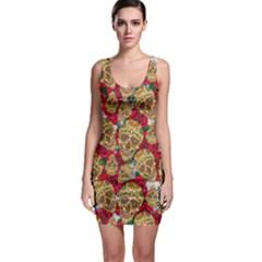 Khaki Skulls & Roses Bodycon Dress