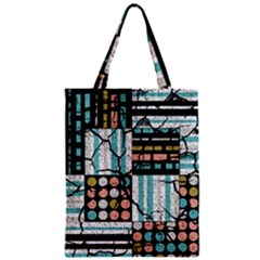 Distressed Pattern Zipper Classic Tote Bag