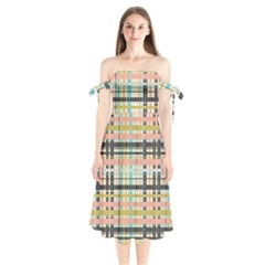 Plaid Pattern Shoulder Tie Bardot Midi Dress