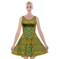 Sunshine And Flowers In Life Pop Art Velvet Skater Dress