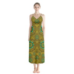 Sunshine And Flowers In Life Pop Art Button Up Chiffon Maxi Dress
