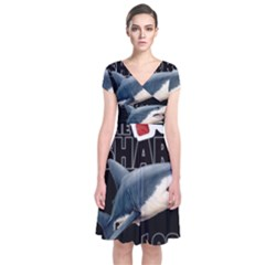 The Shark Movie Short Sleeve Front Wrap Dress