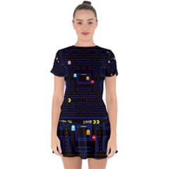 Pac Man Drop Hem Mini Chiffon Dress