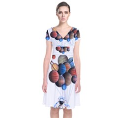 Planets  Short Sleeve Front Wrap Dress