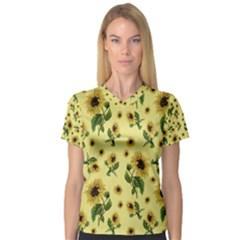Sunflowers Pattern V Neck Sport Mesh Tee
