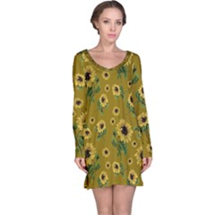 Sunflowers Pattern Long Sleeve Nightdress