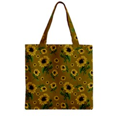 Sunflowers Pattern Zipper Grocery Tote Bag