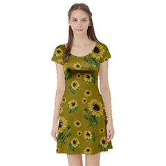 Sunflowers Pattern Short Sleeve Skater Dress