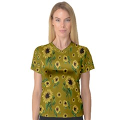 Sunflowers Pattern V Neck Sport Mesh Tee