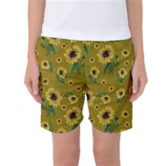 Sunflowers Pattern Women s Basketball Shorts