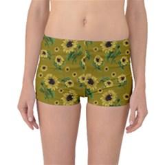 Sunflowers Pattern Boyleg Bikini Bottoms