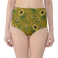 Sunflowers Pattern High Waist Bikini Bottoms