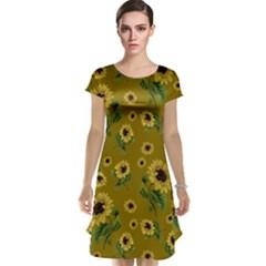 Sunflowers Pattern Cap Sleeve Nightdress