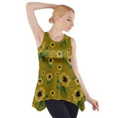Sunflowers Pattern Side Drop Tank Tunic