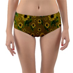 Sunflowers Pattern Reversible Mid Waist Bikini Bottoms