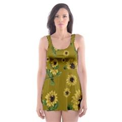 Sunflowers Pattern Skater Dress Swimsuit