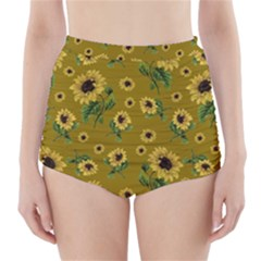 Sunflowers Pattern High Waisted Bikini Bottoms