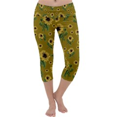 Sunflowers Pattern Capri Yoga Leggings