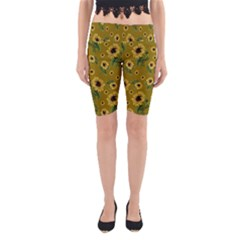 Sunflowers Pattern Yoga Cropped Leggings