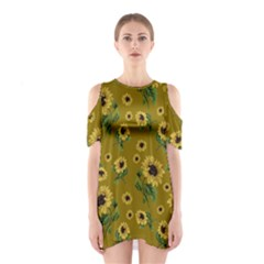 Sunflowers Pattern Shoulder Cutout One Piece