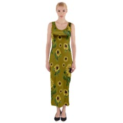 Sunflowers Pattern Fitted Maxi Dress