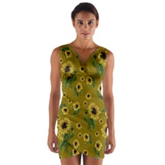 Sunflowers Pattern Wrap Front Bodycon Dress