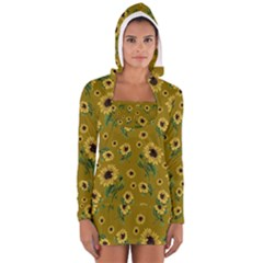 Sunflowers Pattern Long Sleeve Hooded T Shirt