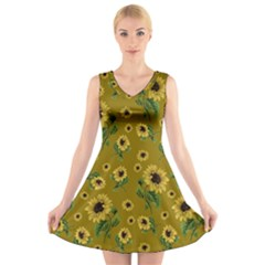 Sunflowers Pattern V Neck Sleeveless Skater Dress
