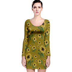 Sunflowers Pattern Long Sleeve Velvet Bodycon Dress