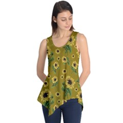 Sunflowers Pattern Sleeveless Tunic