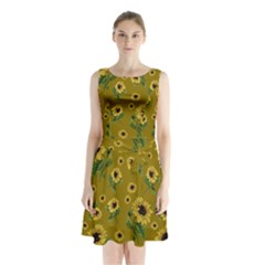 Sunflowers Pattern Sleeveless Waist Tie Chiffon Dress