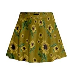 Sunflowers Pattern Mini Flare Skirt
