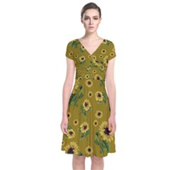 Sunflowers Pattern Short Sleeve Front Wrap Dress