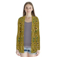 Sunflowers Pattern Drape Collar Cardigan