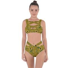 Sunflowers Pattern Bandaged Up Bikini Set