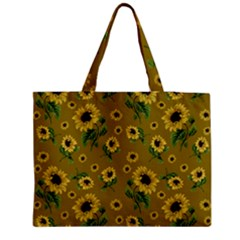 Sunflowers Pattern Zipper Medium Tote Bag