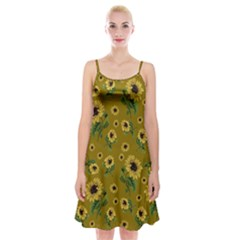 Sunflowers Pattern Spaghetti Strap Velvet Dress