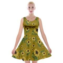 Sunflowers Pattern Velvet Skater Dress
