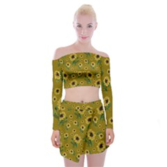 Sunflowers Pattern Off Shoulder Top With Skirt Set