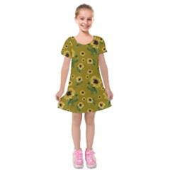 Sunflowers Pattern Kids  Short Sleeve Velvet Dress