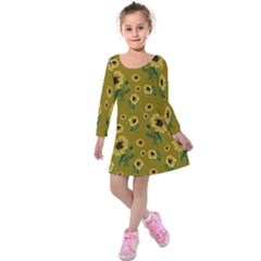 Sunflowers Pattern Kids  Long Sleeve Velvet Dress