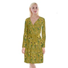 Sunflowers Pattern Long Sleeve Velvet Front Wrap Dress