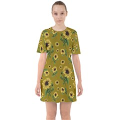 Sunflowers Pattern Mini Dress