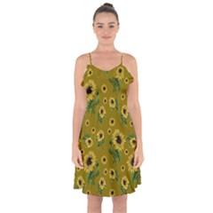 Sunflowers Pattern Ruffle Detail Chiffon Dress