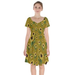 Sunflowers Pattern Short Sleeve Bardot Dress