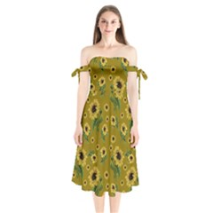 Sunflowers Pattern Shoulder Tie Bardot Midi Dress