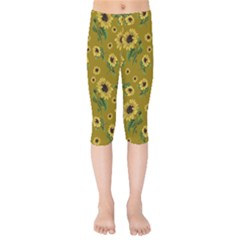 Sunflowers Pattern Kids  Capri Leggings